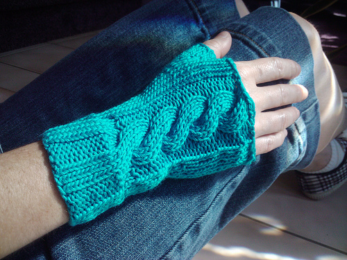 Cabled Fingerless Mitts Knitting Pattern
